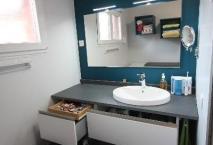 Salle de bains ROCCHETTI modèle CLAUDIA mélaminé blanc craie ligné