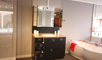 Salle de bain ROCCHETTI CADETTE mélaminé noir miroir triptyque.