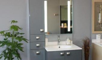 Salle de bain ROCCHETTI modèle ANTARES en stratifié graphite métallisé brillant.