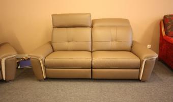Salon ROCCHETTI canapé BRUCE en 207cm cuir et tissu tétières mobiles.